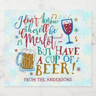 Christmas Gift Beer Funny Merlot Wine Typography Beer Bottle Label