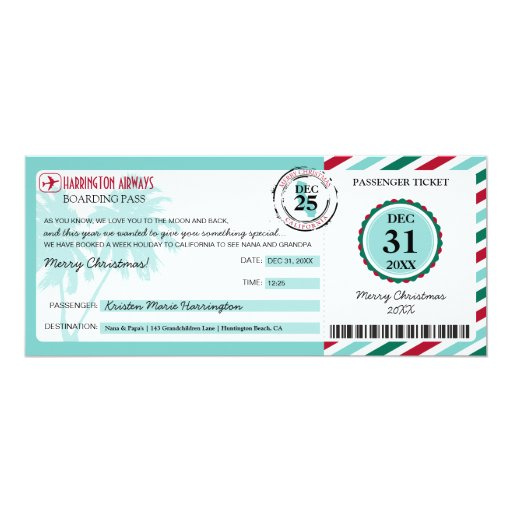 Christmas Gift Boarding Pass To California 4x9 25 Paper
