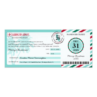 Christmas Gift Boarding Pass to California 4x9.25 Paper Invitation Card