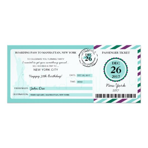 Christmas Gift Boarding Pass to NEW YORK Invitation