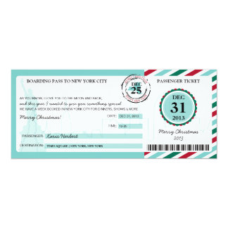 Christmas Gift Boarding Pass to NEW YORK 4x9.25 Paper Invitation Card