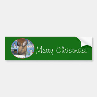 Christmas Gift Bunny Happy Holidays Bumper Sticker