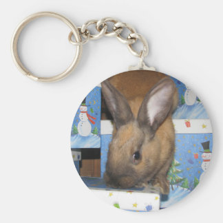 Christmas Gift Bunny Happy Holidays Keychain