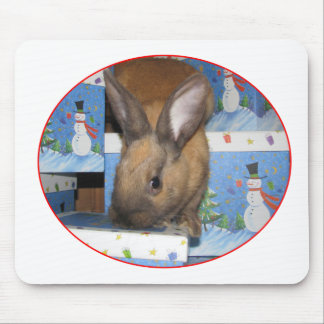 Christmas Gift Bunny Happy Holidays Mousepad