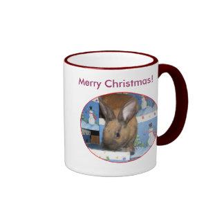 Christmas Gift Bunny Happy Holidays Mugs