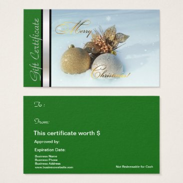 Professional Business Christmas Gift Card Certificate Green Silver