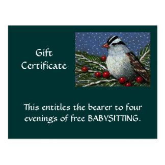CHRISTMAS GIFT CERTIFICATE: ARTWORK: BIRD POSTCARD