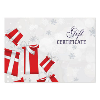 Christmas gift certificate large business cards (Pack of 100)