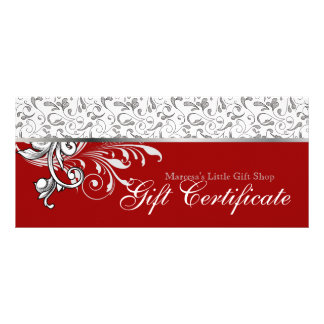 Christmas Gift Certificate Retail Floral Red 2
