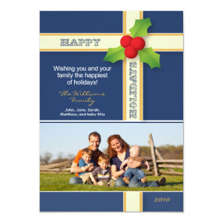 Christmas Gift Custom Family Holiday Card (navy)