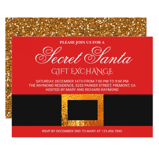 Christmas Gift Exchange Party Secret Santa Invite Zazzle Com
