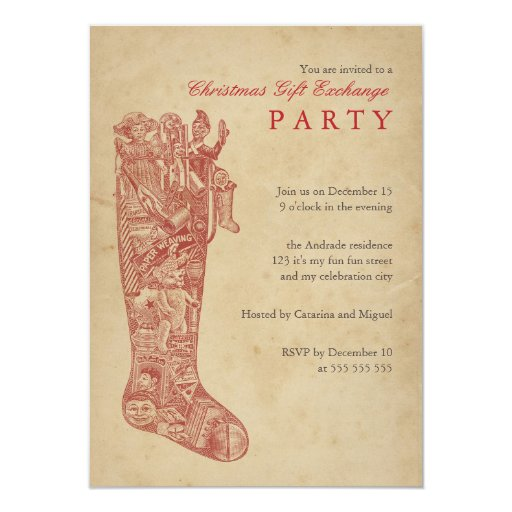 Christmas Gift Exchange Party Vintage Stocking Red Announcements ...