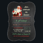 "Christmas Gift Exchange Vintage Santa Chalkboard Invitation<br><div class=""desc"">christmas gift exchange party, vintage Santa Claus with gift/present, chalkboard style, santa red suit/hat/white beard, celebrate the season, holiday party template, red/green/beige retro colors, festive/fun/simple design, antique illustration/image/digital collage, vintage inspired/style/look/looking, fully customizable text template, green/white diagonal striped pattern. Fun gift exchange party design featuring antique illustration of Santa, in red...</div>"