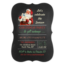 Christmas Gift Exchange Vintage Santa Chalkboard Invitation