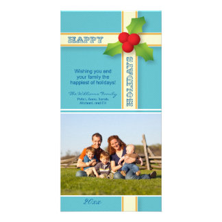 Christmas Gift Family Holiday Photocard (aqua) Card