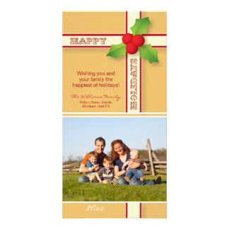 Christmas Gift Family Holiday Photocard (gold) Card