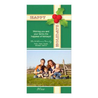 Christmas Gift Family Holiday Photocard (green) Card