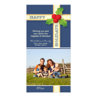 Christmas Gift Family Holiday Photocard (navy) Card