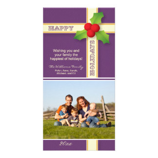 Christmas Gift Family Holiday Photocard (purple) Card