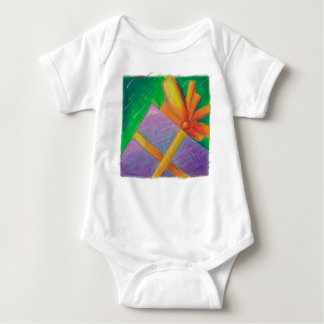 Christmas Gift Gold Bow Artistic Illustration Baby Bodysuit