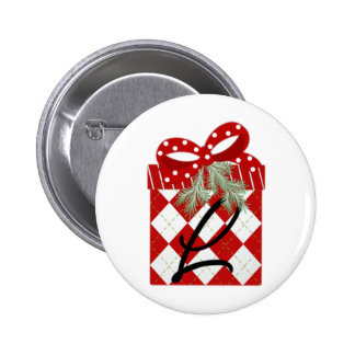 Christmas Gift Initial  L 2 Inch Round Button