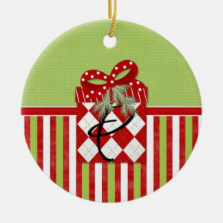 Christmas Gift Initial P Double-Sided Ceramic Round Christmas Ornament