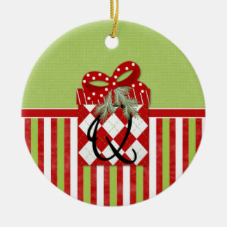 Christmas Gift Initial Q Double-Sided Ceramic Round Christmas Ornament