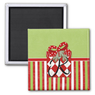Christmas Gift Initial R 2 Inch Square Magnet