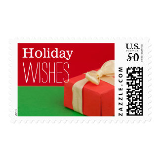 Christmas gift on red and green background postage