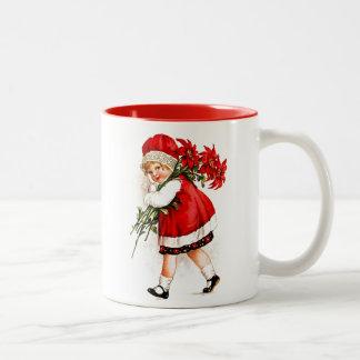 Christmas Gift Set Vintage Girl with Poinsettias Two-Tone Coffee Mug