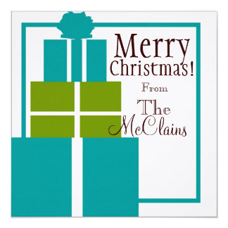 Christmas Gift Stack Card in Teal