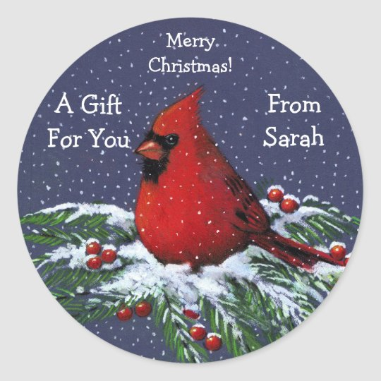 CHRISTMAS GIFT STICKERS: PERSONALIZED: BIRD CLASSIC ROUND STICKER