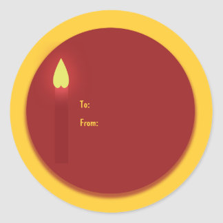 Christmas gift tag candle church red yellow white
