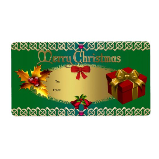 Christmas Gift Tag Green Gold Red Xmas