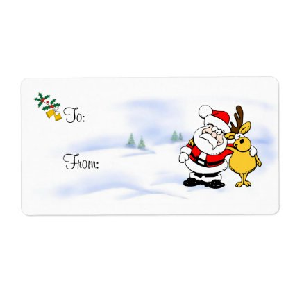 Christmas Gift Tag - Holly, Bells and Buddies Personalized Shipping Label