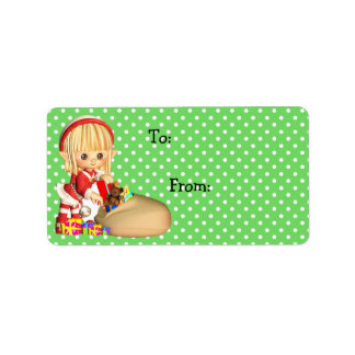Christmas Gift Tag Label Stickers, Little Elf Girl