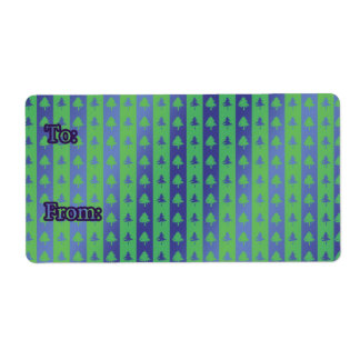 Christmas Gift Tag Labels green/blue tree design