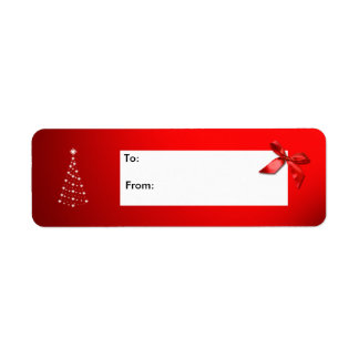 Christmas Gift Tag Labels Red with Star Tree & Bow