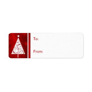 Christmas Gift Tag Labels - White Christmas Tree Return Address Label