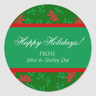 Christmas Gift Tag Personalized Holiday Labels Classic Round Sticker
