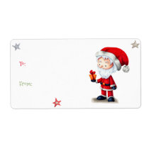 Christmas gift tag Santa Claus (to and from) label
