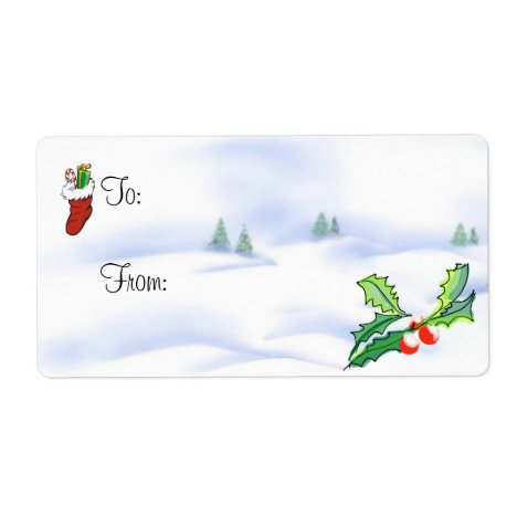 Christmas Gift Tag - Stocking, Holly and Berries