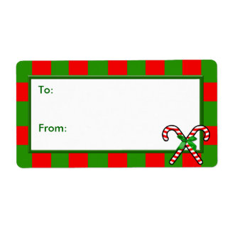 Christmas Gift Tag, Stripes with Candy Canes Label