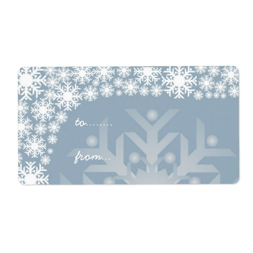 Christmas Gift Tags - Icy Blue Snowflakes Shipping Labels