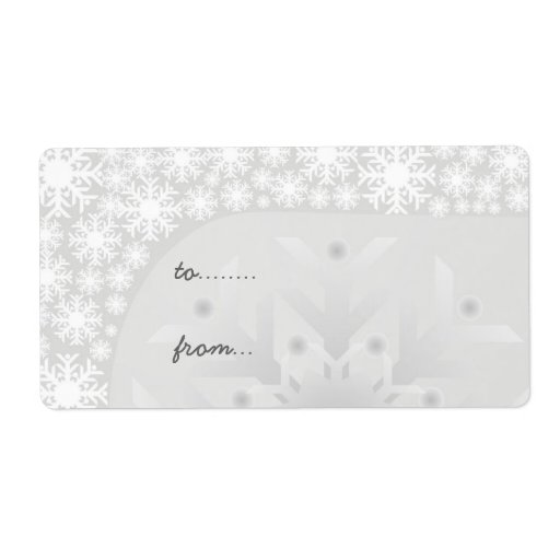Christmas Gift Tags - Icy Gray Snowflakes Custom Shipping Labels