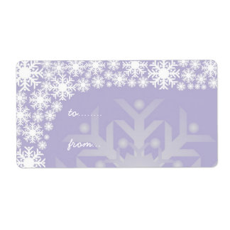 Christmas Gift Tags - Icy Purple Snowflakes Label