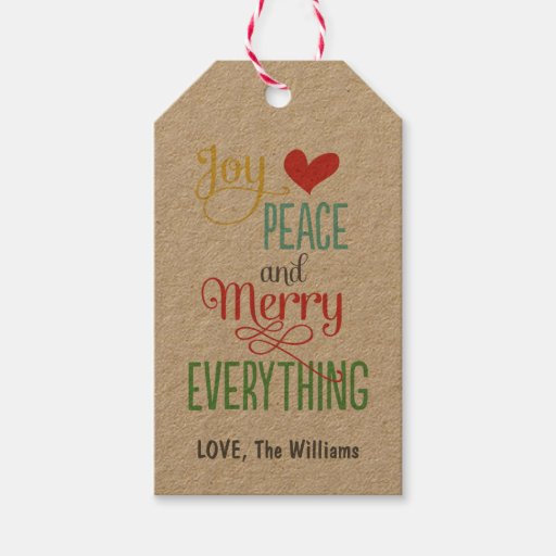 Christmas Gift Tags Kraft Merry Everything