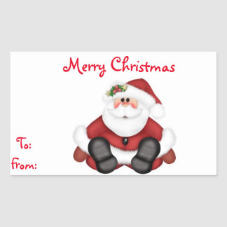 Christmas Gift Tags/Rectangle Stickers/Santa Rectangular Sticker