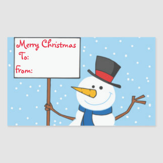 Christmas Gift Tags/Rectangle Stickers/Snowman Rectangular Sticker