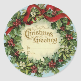 Christmas gift tags  Victorian holly wreath Round Stickers